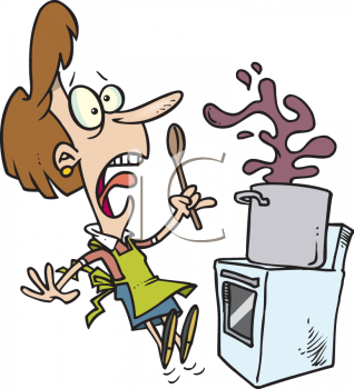Cartoon of a Surprised Woman, Cooking